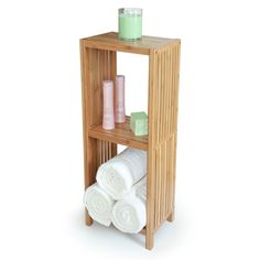 Toilettree Products Deluxe Bathroom Bamboo Freestanding Organizing Shelf 3 Tier