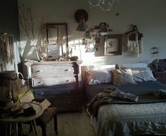 "Bedroom by Charlie Kinyon ""Hipster Bedroom"", via Flickr  looks a lot like my room but mine has more on the walls...hmm..."