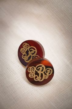 Providence Script #Monogram Earrings (Garnet, Ruby, Mint, Robin's Egg, Hot Pink, Tortoise, Ebony, Blonde Tortoise, Gunmetal, Antique Gold.) BourbonandBoots.com