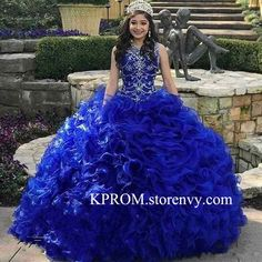 b26d2ddccde Royal Blue Organza Quinceanera Dresses 2019 Beads Crystal Cascading Ruffles  Ball Gown Sweet 16 Prom Dress
