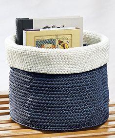 Another great find on #zulily! Navy & Ivory Medium Knit Round Bin #zulilyfinds