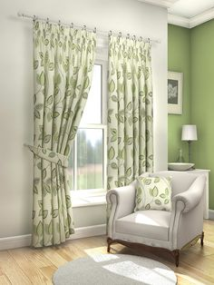 Rosalie Green Pencil Pleat Curtains