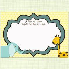 Baby Advice Cards Baby Shower Jungle Safari Theme, Advice for New ...