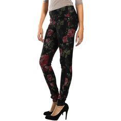 Lola Jeans Floral Anna Skinny Jean ($30) ❤ liked on Polyvore featuring jeans, plus size, stretchy skinny jeans, super stretchy skinny jeans, floral jeans, floral skinny jeans and stretchy jeans