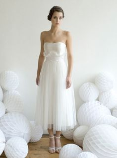 Mid length wedding dress