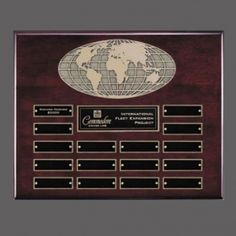 Promotional Products Ideas That Work: World Perpetual Plaque - Rosewood 16 Plate. Get yours at www.luscangroup.com