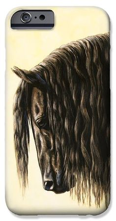 Friesian Horse Phone Case iPhone 6 case by Crista Forest.  Protect your iPhone 6 with an impact-resistant, slim-profile, hard-shell case.  The image gets printed directly onto the case and wrapped around the edges for a beautiful presentation.  Simply snap the case onto your iPhone 6 for instant protection and direct access to all of the phones features.