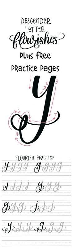 Flourishes in hand lettering: Free practice pages - typography and handlettering Source by Doodle Lettering, Creative Lettering, Brush Lettering, Lettering Styles, Hand Lettering Fonts, Calligraphy Letters, Typography Letters, Caligraphy, Font Alphabet