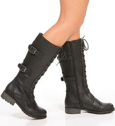 Black Tall Lace Up Combat Boots