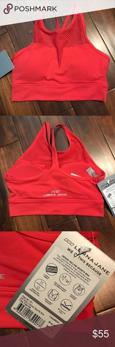 NWT Lorna Jane Incline sports bra - XS NWT Lorna Jane Incline sports bra - XS. Color is Pale Paprika altho there is nothing pale about this color lol!! Beautiful red color, will go with so many cute workout outfits!!!please lmk if you have any questions! Lorna Jane Other