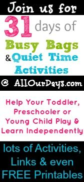 Busy Bags  Quiet Time Activities to Help Your Toddler, Preschooler  Young Child Play  Learn Independently