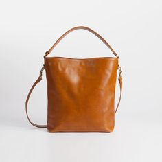 Brown Leather Tote - Custom Made, Market bag, Leather tote, Medium bag, $278.
