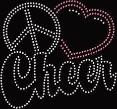 "Womens ""Peace Love Cheer"" Rhinestone Ladies Shirt by JuldenDesigns on Etsy"