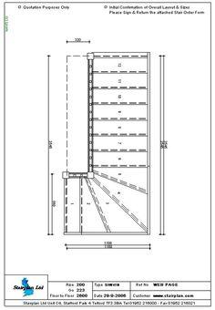 Winder Stair Drawings | ... made to measure Staircase Drawing of a 4 Tread Winder staircase
