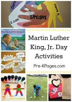 Martin Luther King Jr Day Ideas - Pre-K Pages - Activities for Celebrating the Life of Dr. in Preschool and Kindergarten. Kindergarten Activities, Kindergarten Classroom, Bilingual Kindergarten, Preschool Class, Preschool Curriculum, Class Activities, Homeschooling, Martin Luther Jr, King Craft