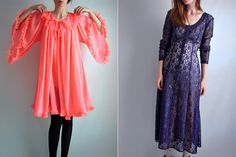 Love the dress on the right, that's why I'll bear with the one on the left that just looks like a froofy pj shirt...haha...