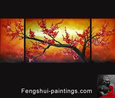 Chinese Feng Shui Painting Cherry Blossom Painting Flower Painting