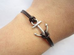 Anchor Bracelet---antique silver little anchor bracelet &brown leather chain