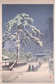 """Ikegami Honmonji Temple"", Hasui Kawase (1883-1957) - 1931."