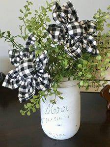 Cheque, Silk Flowers, Fabric Flowers, Plaid Living Room, Rustic Farmhouse Decor, Farmhouse Style, White Farmhouse, Everyday Centerpiece, Sage Green Walls