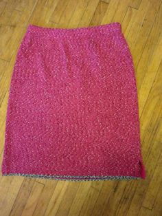 JOAN VASS USA Raspberry Pink Black White Tweed Stretchy Knit Career Skirt 2 L XL #JoanVass #StretchKnit #KnitSkirt #TweedSkirt