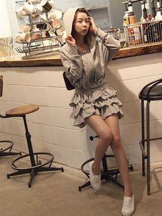 Vogue Hooded Zip Front Dolman Sleeve Elastic Waist Casual Dress on DressLuck.com