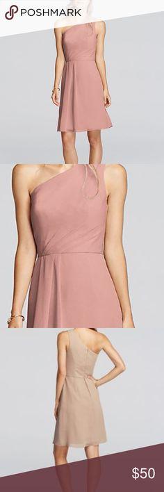 8a908aa250e HP[DAVID'S BRIDAL]One Shoulder Crinkle Chiffon Beautiful short chiffon  dress with
