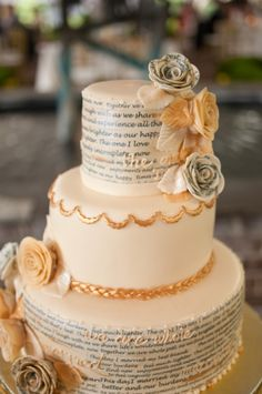 wedding cake with script from the newlyweds' favorite poem about marriage from SavannahWeddingCakes.com // photo by AzellePhotography.com