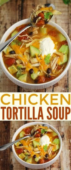 Homemade Chicken Tortilla Soup. This recipe is easy delicious and so full of flavor! It is sure to be a family dinner hit and game day classic all winter long.