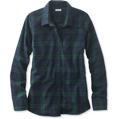 L.L.Bean Scotch Plaid Shirt, Slightly Fitted  Misses Petite (3,005 INR) ❤ liked on Polyvore featuring tops, shirts, jackets, plaid flannel shirt, flannel top, blue shirt, fitted shirts and fitted tops