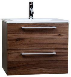 "CBI Caen 24"" Wall-Mounted Single Bathroom Vanity Set in Walnu RS-DM600-WN - contemporary - Bathroom Vanities And Sink Consoles - ConceptBaths"