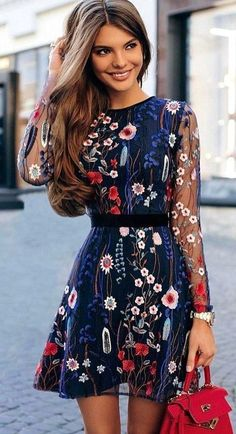 Fantastic Outfit Ideas To Wear This Fall women's blue, white, and rd floral long sleeved mini dress Outfit Vestidos, Embroidery Fashion, Floral Embroidery, Embroidered Lace, Embroidery Dress, Inspiration Mode, Garden Inspiration, Fashion Inspiration, Mini Dress With Sleeves
