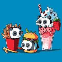 Combo Meal t-shirt TeeTurtle Fast Food Pandas Panda Kawaii, Chat Kawaii, Kawaii Cute, Cute Panda Cartoon, Cute Panda Drawing, Panda Day, Happy Panda, Panda Love, Panda Panda