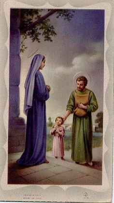 Jesus, Mary, and Joseph The Holy Family Catholic Art, Catholic Saints, Religious Art, Roman Catholic, Religious Pictures, Jesus Pictures, Vintage Holy Cards, Queen Of Heaven, Mama Mary