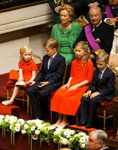 (Front L-R) Princess Eleonore, Prince Gabriel, Princess Elisabeth and Prince Emmanuel (back L-R) Queen Paola and King Albert attend the swearing ceremony of King Philippe of Belgium before the two chambers of the Belgian federal parliament of the Palace in Nation in Brussels, 21 July 2013