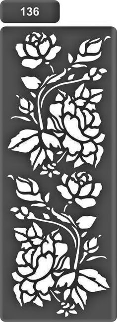 42 Ideas Flowers Pattern Stencil For 2019 Rose Stencil, Stencil Painting, Fabric Painting, Flower Stencils, Stencil Templates, Stencil Patterns, Stencil Designs, Cnc Cutting Design, Diy And Crafts