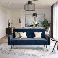 Shop Z by Novogratz Stevie Futon Convertible Sofa Bed Couch - Overstock - 30042827 Blue Couches, Blue Velvet Couch, Green Velvet, Traditional Sofa, Sofa Couch Bed, Corner Sofa, Modern Sofa, Lounge, Living Room
