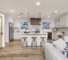 white kitchen cabinets with light wood floors - Google Search