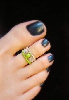 Stacking Toe Rings  Apple Green  White Jade Crystal Stretch Bead Toe Ring by FancyFeetBoutique, $5.50