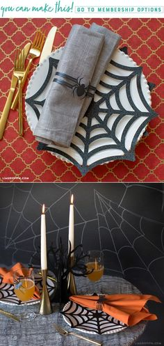 DIY Halloween Place Mats and Napkin Rings - Lia Griffith - www.liagriffith.com #diyhalloween #diyhomedecor #diyinspiration #paperart #papercut #papercraft #cricutmade #madewithlia