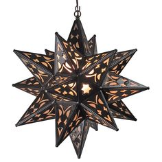 "Frosted glass and aged tin cutout star light. Add a warm rustic glow to any room of your home with this aged tin star light. 19"" Diameter. $209.00"