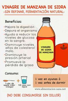 Vinagre de sidra de manzana -sin refinar- Beneficios para la salud