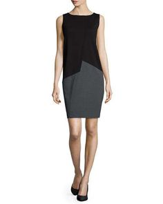 TATGP Lafayette 148 New York Sleeveless Asymmetric Colorblock Shift Dress