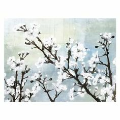 """Celebrate naturally chic appeal with this eye-catching canvas print, featuring blossoming branches against a cool-toned backdrop. Display it in your parlor for a serene setting, or group it with other artwork for a gallery-style display.   Product: Wall artConstruction Material: CanvasFeatures:  Gallery-wrapped giclee print on canvasReady to hang Dimensions: 18"""" H x 24"""" WCleaning and Care: Wipe with dry cloth"""