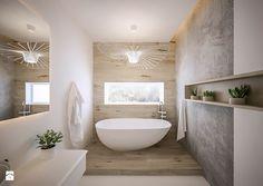 Akacjowa - Średnia łazienka w domu jednorodzinnym z oknem, styl nowoczesny - zdjęcie od ARCHIWYTWÓRNIA Tomek Pytel
