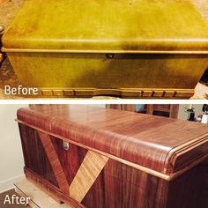 Amazing before and after! Our customer Bruce removed the green paint and finished this chest with Waterlox.