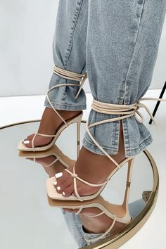 Lace Up Heels, Strappy Heels, High Heels, Fashion Shoes, Fashion Outfits, Womens Fashion, Bootie Boots, Shoe Boots, Hype Shoes
