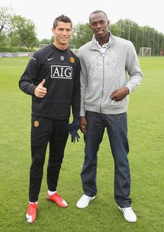 Cristiano Ronaldo poses with another sporting icon - Usain Bolt - at @manutd's Aon Training Complex.