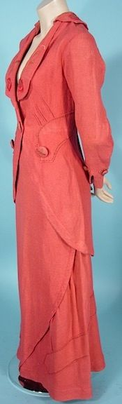 Antique Dress -  1912 Titanic Era Coral Textured and Embroidered Walking Suit !