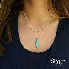 Silver Necklaces with a turkoois gemstone arrow. Stygr. - Handmade Designs.   www.stygr.com